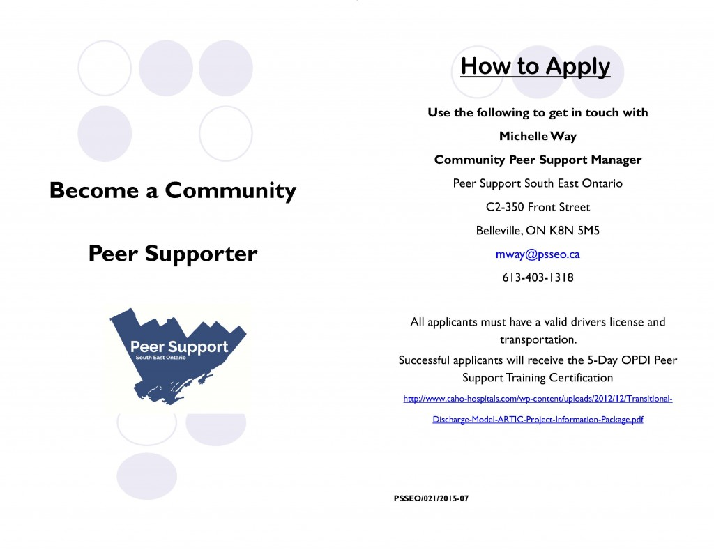 Becoming a Community Peer Supporter